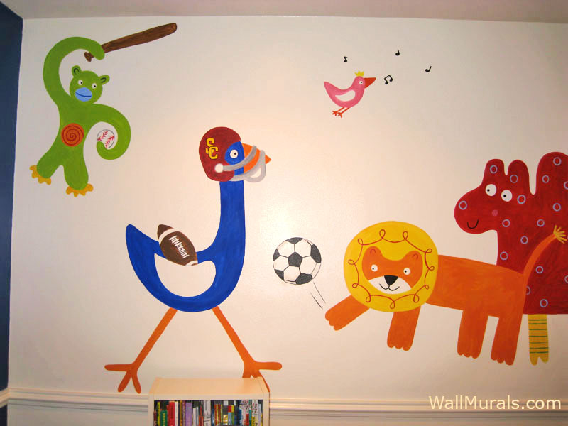 Animals Playing Sports Mural