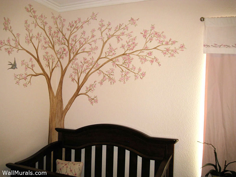 Tree wall murals 50 hand painted tree wall mural for Cherry blossom tree mural