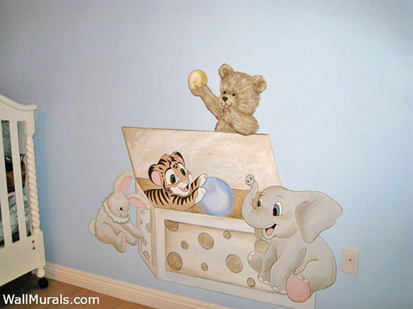 Teddy Bear in Toy Chest Mural