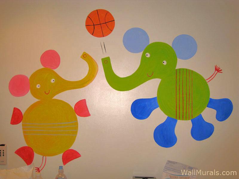 Elephants Playing Basketball Mural