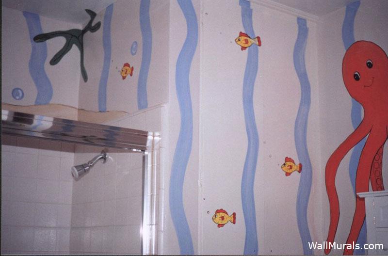 Ocean Wall Mural in Bathroom