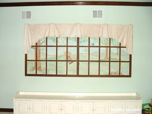 Playroom Wall Mural - Painted Window Mural