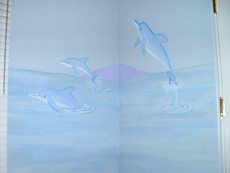 Ocean wall murals beach themed murals undersea animals for Dolphin wall mural