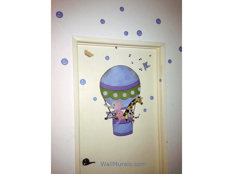 Preschool Wall Mural - Hot Air Ballon on Door
