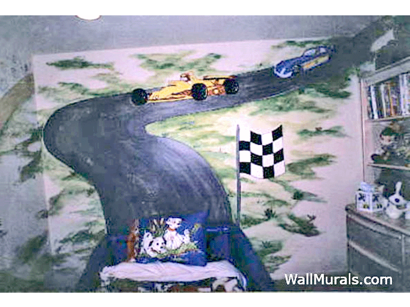 Race Car Bed Wall Mural