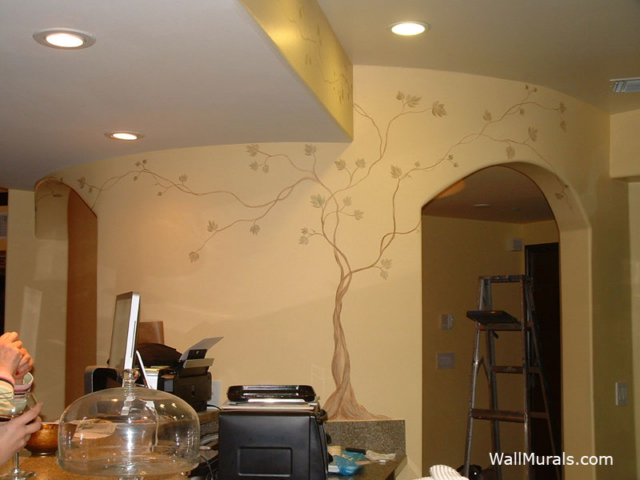 Delicate Tree Mural on Curved Wall