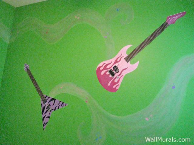 Music Mural - Painted Guitar Wall Murals