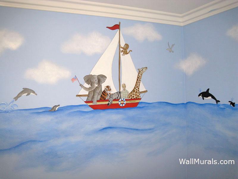 Sailboat Mural on Ocean - Jungle Animals
