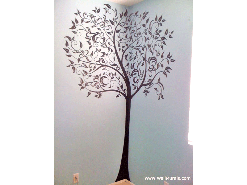 Tree wall murals 50 hand painted tree wall mural for Black tree mural