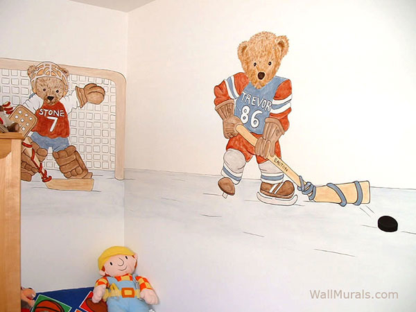 Hockey Teddy Bear Wall Mural