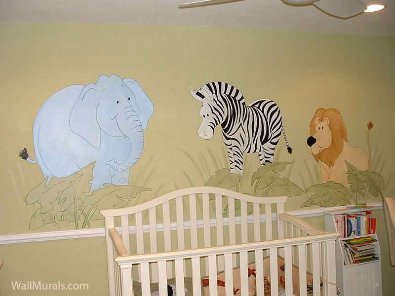 Jungle Animal Mural in Baby Room