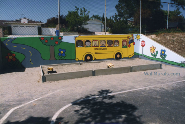 Playground Wall Mural - School Bus Mural