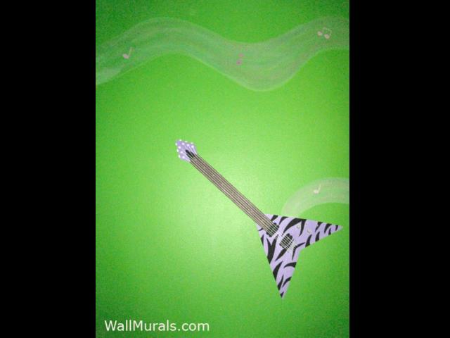 Purple Zebra Guitar Mural