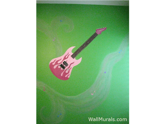 Pink Guitar with Fire Mural