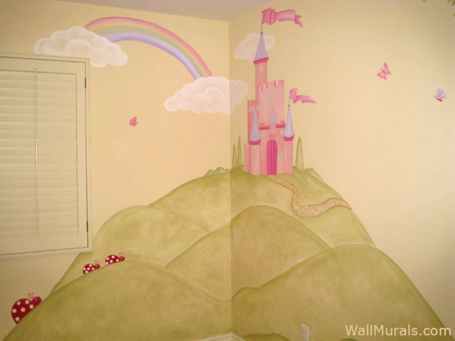 Castle Wall Mural with Rainbow