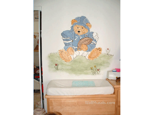 Football Teddy Bear Wall Mural