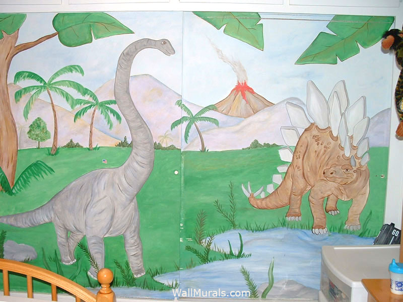 Dinosaur Wall Mural on Closet