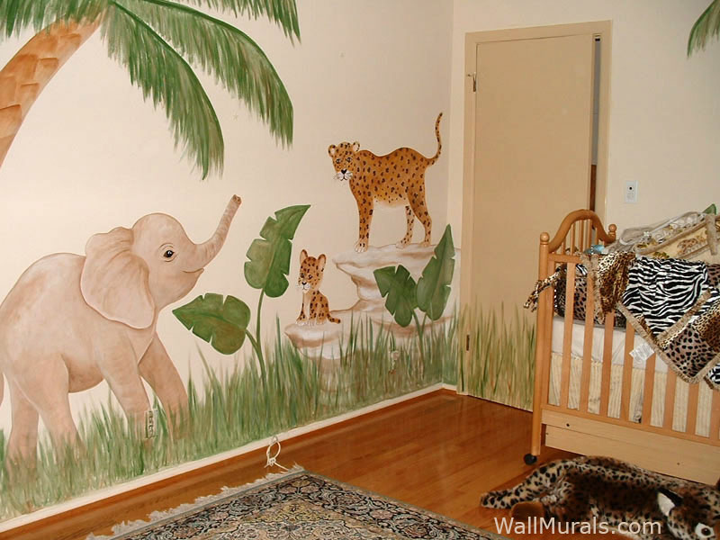Jungle Wall Mural - Elephant - Leopard