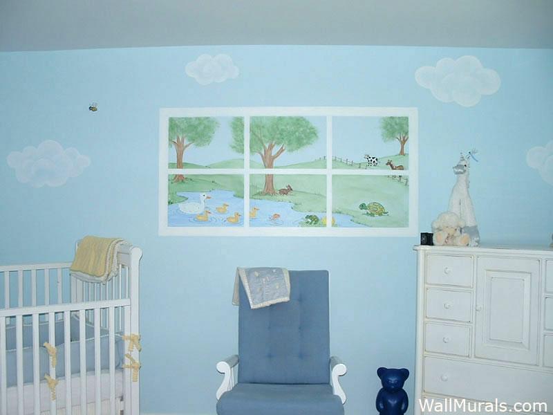 Painted Window Mural in Nursery