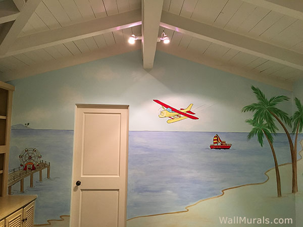 Airplane Over Ocean Mural