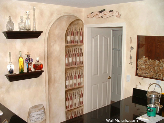 Wall Mural in Bar Area of Home