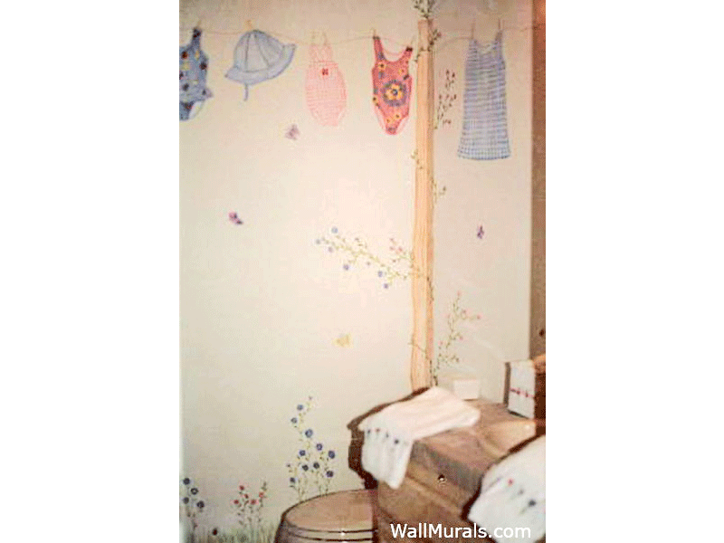 Bathroom Mural - Painted Clothes Line - Flowers