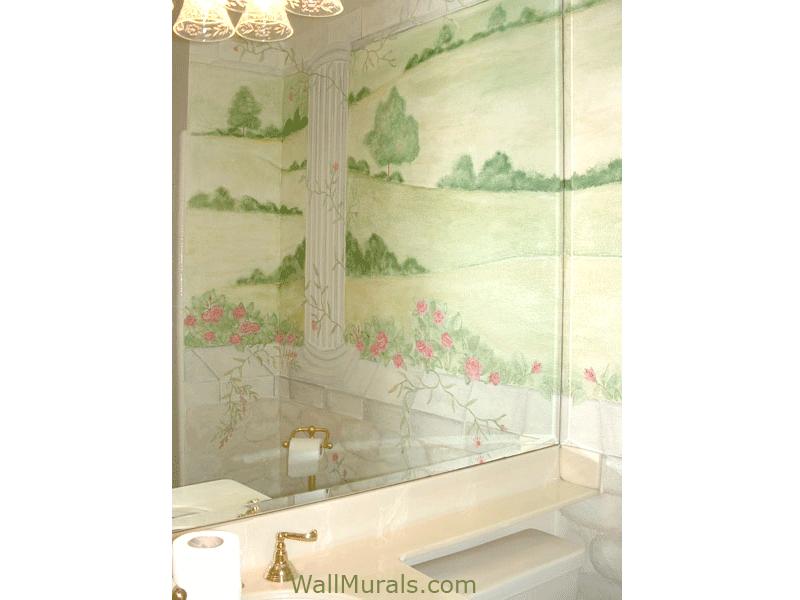 Bathroom Mural - Painted Columns in Bathroom
