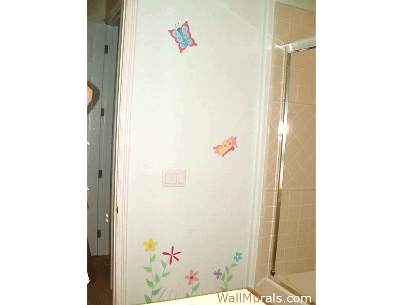 Bathroom Mural - Daisy and Butterfly Mural