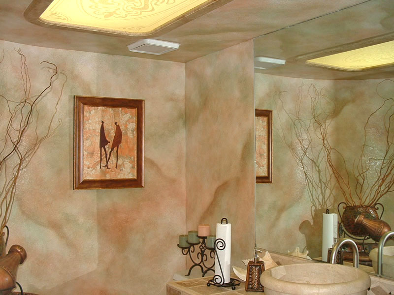 Faux wall finishes examples of hand painted wall for Best paint finish for bathroom ceiling