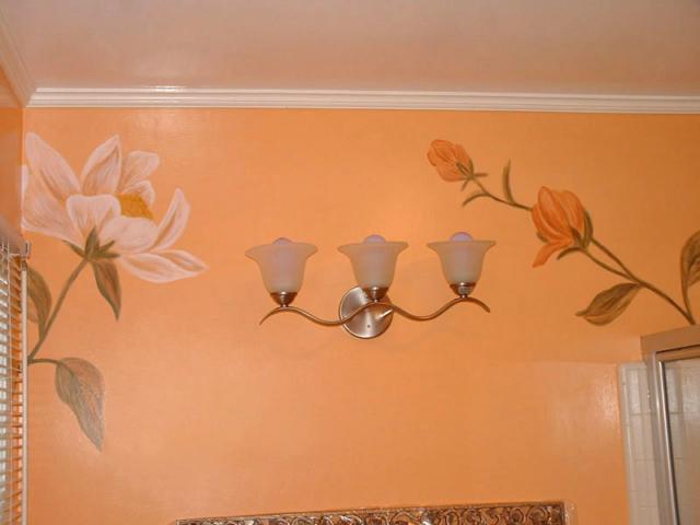 Bathroom Mural - Large Flowers Painted in Bathroom