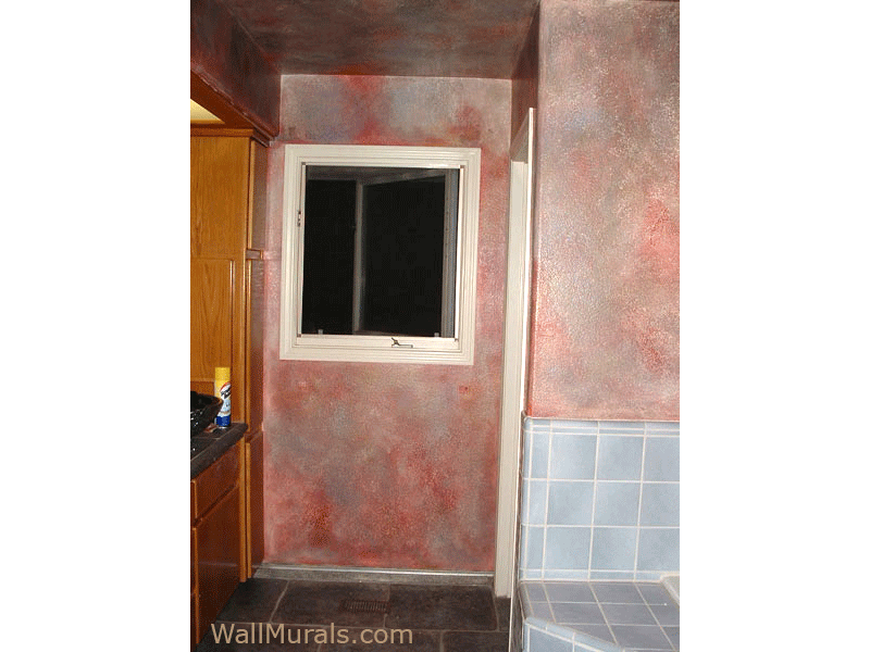 Faux Bathroom Walls with Red and Gray