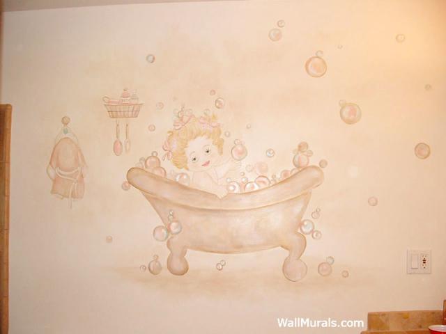 Vintage Bathtub Wall Mural in Bathroom