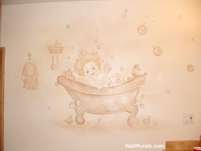 Vintage Bathtub Wall Mural in Bathroom