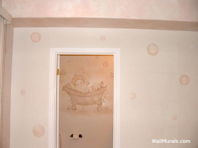 Bubble Bath Wall Mural in Bathroom
