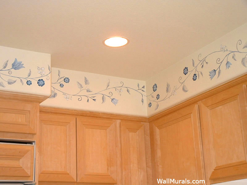 Blue Floral Border in Kitchen