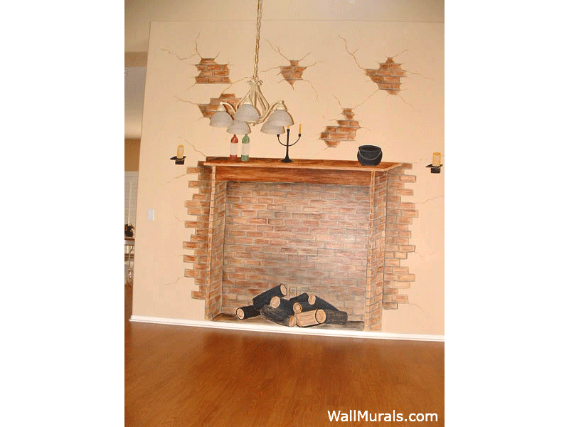 Painted Brick Fireplace Wall Mural