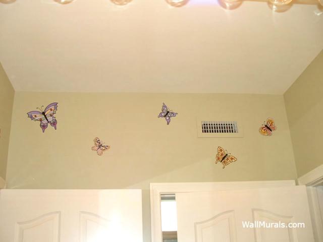 Butterfly Wall Mural in Bathroom