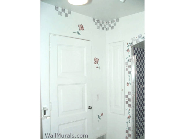Bathroom Mural Painted to match tile