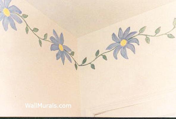 Daisy Border Painted in Bathroom