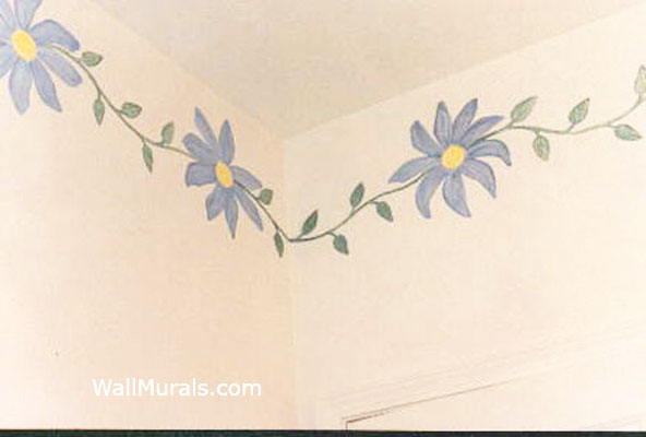 Daisy Border Painted in Bathroom