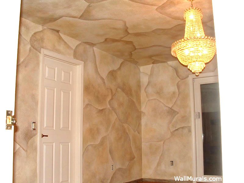 Dining Room Faux Stone Walls and Ceiling