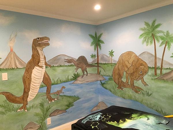 Dinosaur wall mural examples photos and videowall murals for Dinosaur wall mural