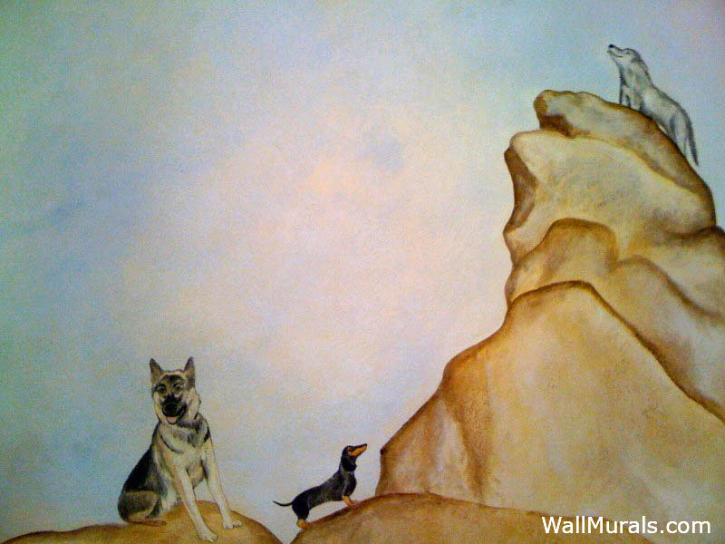 Dog and Wolf Wall Mural