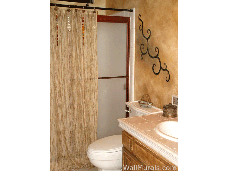 Painted Scroll and Faux Walls in Bathroom