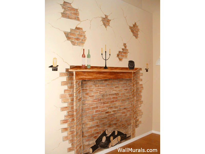 Faux Fireplace Mural with Wine