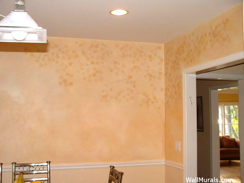 Autumn Tree Mural over Faux Finish Walls