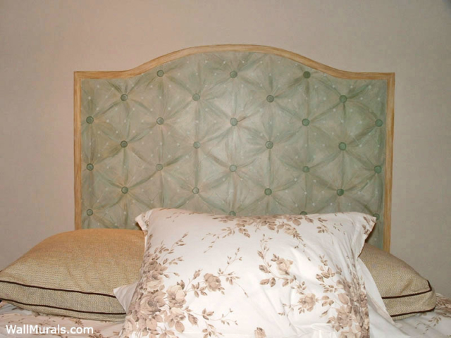 Faux Painted Headboard on Wall to Look Like Fabric