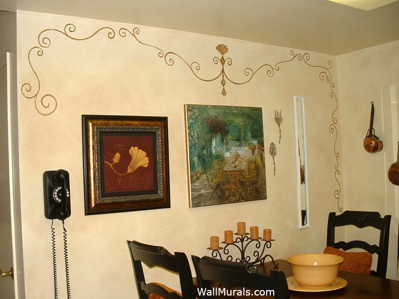 Faux Finish Walls In Kitchen - Painted Scroll Design