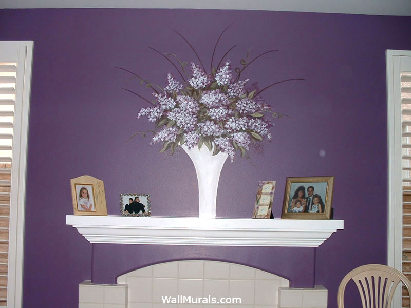 Vase with Flowers Painted above Fireplace Mantle