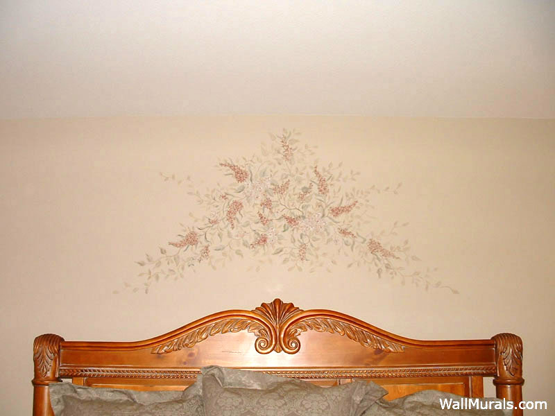 Floral Painting above Bed on Wall